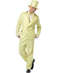 Disfraz de esmoquin amarillo años 70 para hombre