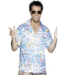 Camisa hawaiana azul para hombre