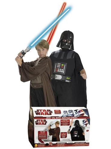 cofre de disfraces maestro jedi y darth vader star wars