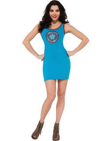 Vestido disfraz Capitán América Marvel para mujer